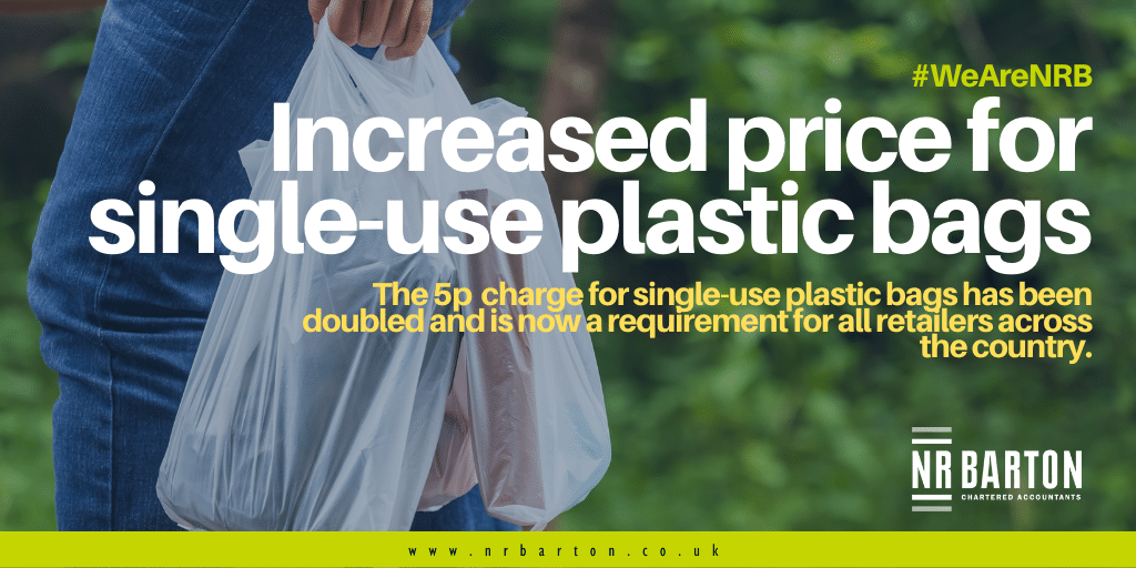 Increased price for single-use plastic bags across the UK